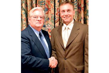 Ben Davis congratulates Randy Harling