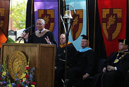 NASA administrator Charles Bolden addresses Anderson University graduates.